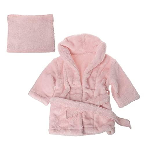 QSMIANA Bata de baño Baby Bathrobes Bath Toalla De Baño Color Sólido Cálido Bebé con Capucha Túnica con Cinturón Newborn Photography Props Baby Photo Shoot Accesorios-Pink,For 0-2 Month
