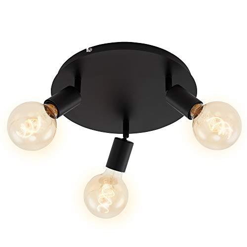Briloner Leuchten Spotleuchte, Deckenspot 3-flammig, Retro/Vintage, Spotköpfe dreh- und schwenkbar, 3x E27, max. 60W, Metall, Schwarz, Ø 30cm, 60 W