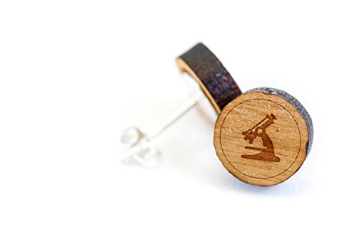 WOODEN ACCESSORIES COMPANY Wooden Stud Earrings With Microscope Laser Engraved Design - Premium American Cherry Wood Hiker Earrings - 1 cm Diameter