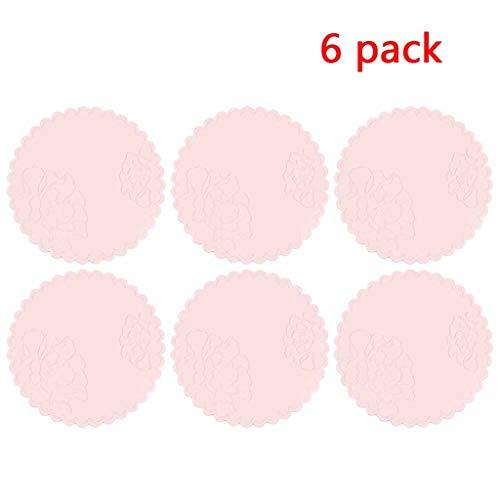 Kleine Silikon-Pad Peony Blume Trivets Topfhalter Löffelhalter Verbrühungsschutz Handschuhe Anti-Rutsch dreidimensionales Relief 6-teiliges Set (Color : Pink)