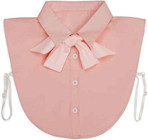 styleBREAKER Dames blouse kraaginzet met knoopsluiting en strik, kraag voor blouses en truien, slordige blouse 08020003