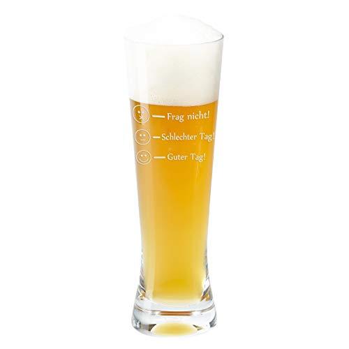 Geschenke 24 Glas – Frag Nicht! (Weizenbierglas) – Glas von Leonardo als Bierkrug, Weizenbierglas oder Whiskyglas mit Befüllungs-Markierungen graviert – Markenglas mit Smiley Gravur je nach Stimmung