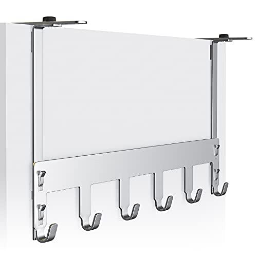 Luxear Perchero Puerta con 6 Ganchos Acero Inoxidable Colgador Puerta Ajustable MAX20KG para Dormitorio Baño Armarios Cocina, Puerta Espesor Inferior a 6cm