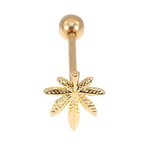 LCHB 1 Joyas de Acero Inoxidable de Hoja Elegante for Hombres y Mujeres (Color : Gold Color)