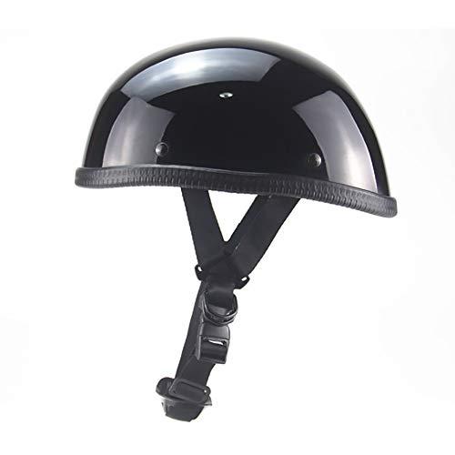 ANAN halve schaal jethelm motorhelm scooter helm scooter helm bromfiets retro cruiser pilot zwart