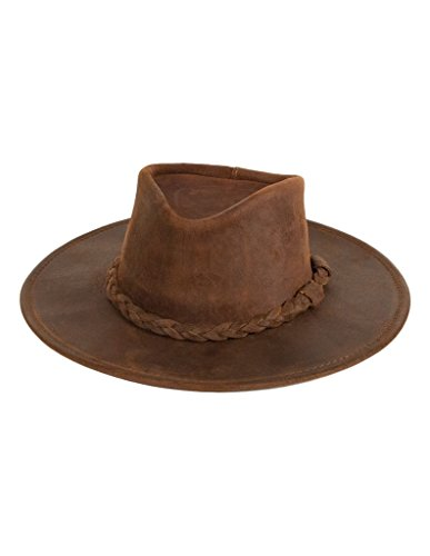 Minnetonka Unisex Outback Hat, Brown Ruff Leather, XLarge