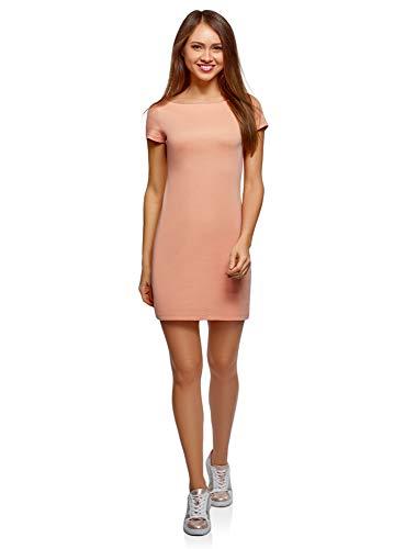 oodji Ultra Mujer Vestido de Punto con Escote Barco, Rosa, ES 42 / L
