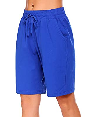 COOrun Women's Athletic Shorts Running Yoga Shorts Active Bermuda Cotton Short with Elastic Waistband Pockets Blue