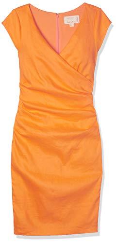 Nicole Miller Women's Beckett Stretch Linen-Blend Tuck Dress, Orangesicle/Osi, 2