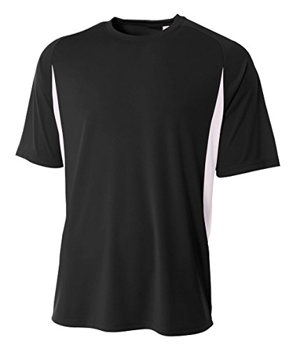 A4 Men's Short Sleeve Cooling Performance Tee, Black/White, XX-Large