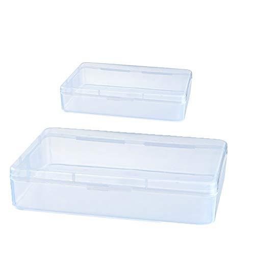 BRAZT Máscara Caja de Almacenamiento, rectángulo de plástico de Almacenamiento de Cajas con Tapas, Mini Claro Clasificación de contenedores, para joyería Limo (Paquete de 4)