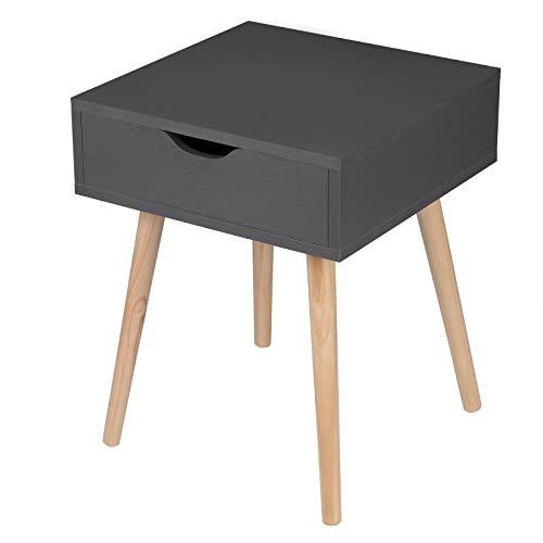 EUGAD 0080ZZ Nachttisch Beistelltisch mit Schublade Nachtkommode Nachtschrank Holzbeine MDF 40x40x50cm Grau