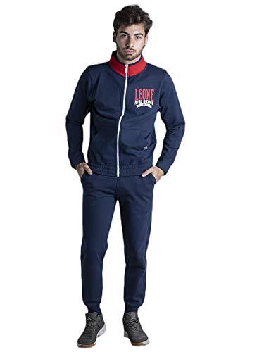 LEONE - Tuta Real Boxing Felpa con Zip e Pantalone da Uomo Jumpsuits Set - Navy Blue (10), XXL
