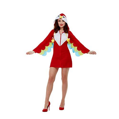 NET TOYS Llamativo Disfraz de papagayo para Dama - Rojo L (ES 44/46) - Emocionante Disfraz de Pavo Real para Mujer - Ideal para Carnaval y Fiestas temáticas
