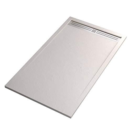 Receveur de douche en résine Star Relax blanc effet pierre, 70 x 180 cm