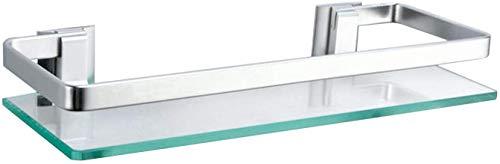 ENCOFT 8mm Aluminium Glas Badregal Duschablage Duschkabine ohne Bohren Küche Wandregal Badezimmer (1, Silber)