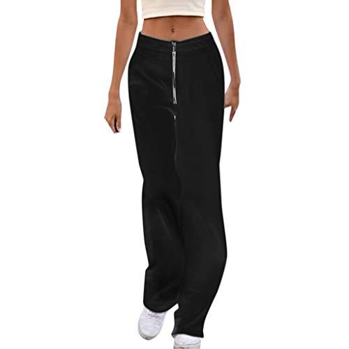 Lulupi Hohe Taillenhose Damen Weiß Lang, Stilvolle lose Hosen | Einfarbig gerade Hosen | Frauen Jogginghose | Reißverschluss Hose |Casual Sommerhose