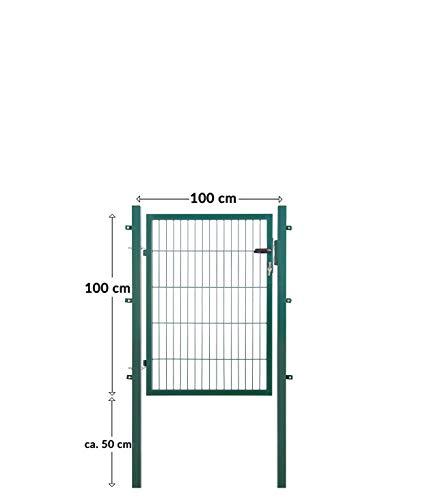 Koll Living Gartentore für Stabmattenzaun - Farbe und Höhe wählbar - inkl. Pfosten und Befestigungsmaterial (Gartentor H 100 x B 100 cm, grün)
