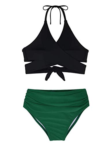 Hilor Girl's Bikini Set Crisscross Two Piece Swimsuits Kids Haler Bathing Suits Black&Green 9-10 Years