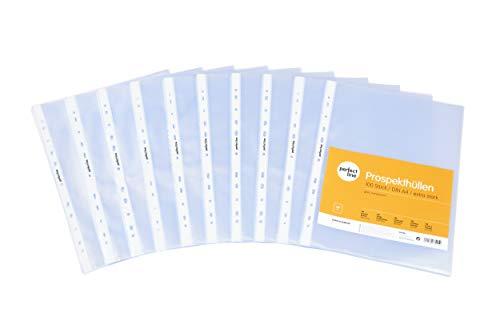 perfect line 100 Prospekt-Hüllen DIN-A4 glasklar, Premium Klar-Sicht-Folien extra stark (70 µ), farblos & transparent, Sammel-Taschen zum Schutz von Papier, Akten & Dokumenten im Ordner