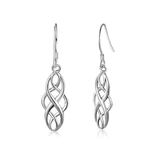 Epoch World Boucles d'oreilles Pendantes Noeud Celtique Argent 925 Boucle d'oreille Argent Femme étincelant Bijoux Femme/Fille