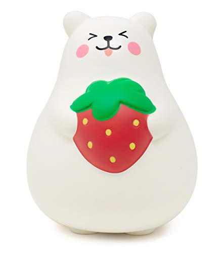 ibloom Marshmallow Bear Mr White Slow Rising Big Squishy Toy (Red Strawberry, Smile, 5.6 Inch) for Party Favors, Stress Balls, Birthday Gift Boxes