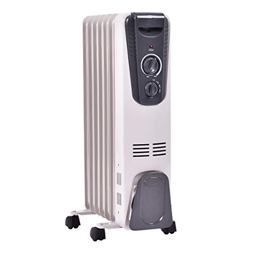GOFLAME Electric Oil Filled Radiator Heater with Wheels, Portable Space Heater with Adjustable Thermostat, Tip-over & Overheated Protection, Energy Saving Mini Heater for Home and Office, 1500W