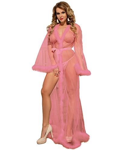 ohyeahlady Mujer Lencería Erótica Kimono Talla Grande Bata Transparente para Dormir Vestido Sexy Largo para Fiesta Disfraz Boda con Plumas (Rosa, M)