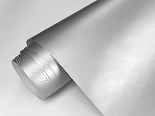 Vinilo Adhesivo Mate Para Muebles Tamaño 60x120 cm Combina Colores Blanco Negro Grises Oro Plata Papel Autoadhesivo Para Paredes Cristales Manualidades (PLATA METALIZADO)