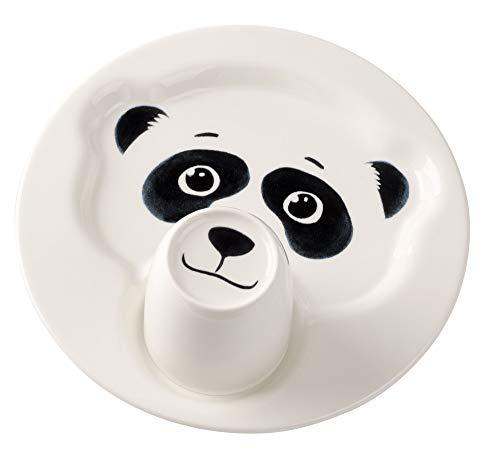 Villeroy & Boch Animal Friends Juego de Mesa Infantil con Motivos de Panda, 2 Piezas, Porcelana Premium, Blanco/Negro