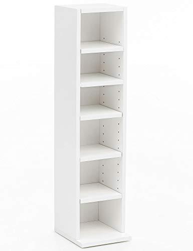 FineBuy Bücherregal FB12009 Weiß 21x91x25,5 cm mit 6 Fächern | Standregal Holz Regal freistehend Flur | Schmales Wandregal Kinderzimmer | Nieschenregal Modern