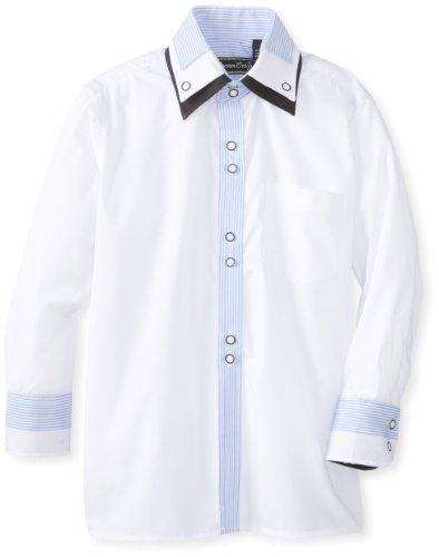 American Exchange Little Boys' Little Stripe Contrast Shirt, White/Blue, 6