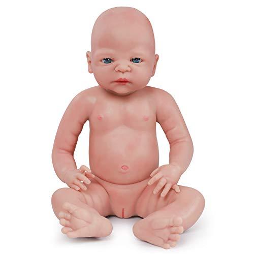 Vollence Muñeco Natural recién Nacido de 55 cm Que Parece Real. Libre de PVC. Similar a un bebé Real Lleno de Peso. Hecho a Mano. Muñecas bebé de colección con Ropa - Chica