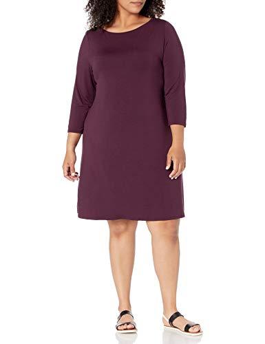 Amazon Essentials Plus Size 3/4 Sleeve Boatneck Dress Robe, Bordeaux, Écossais, 4XL Grande Taille