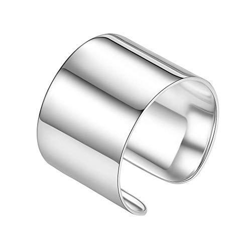 Silvora anillo hombre plata anillos anchos 15mm Ajustable Plata de ley 925 Regalo novio cumpleaños aniversario