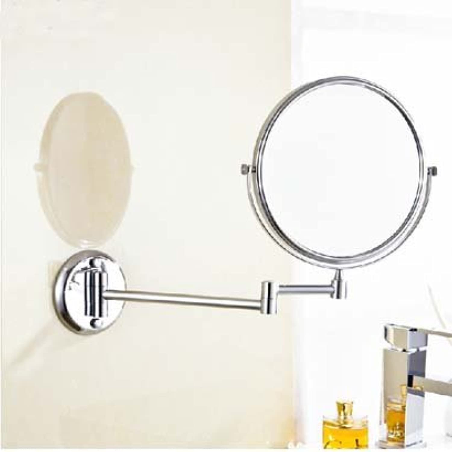 Wide copper folding mirror-8 European-style gold-plated bathroom mirror antique wall mounted retractable mirror-8 inch Mirror chrome