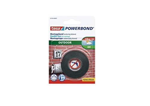 tesa Powerbond Outdoor - Doppelseitiges Montageband für den Außenbereich - Wasserfestes, starkes, UV-beständiges Klebeband - 1,5 m x 19 mm