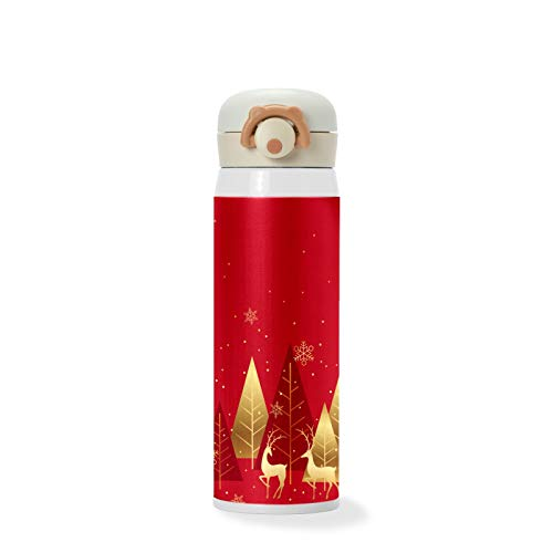 500ml Christmas Winter Forest Red Background with Reindeer Elk Vacuum Cups Stainless Steel Insulated Water Bottle Travel Sports Mug for Kids/Students/Boys/Girls/Women/Men