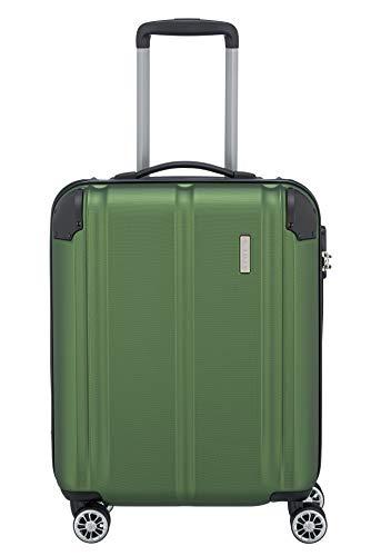 Travelite 4-Rad Handgepäck Koffer erfüllt IATA Bordgepäckmaß, Gepäck Serie CITY: Robuster Hartschalen Trolley mit kratzfester Oberfläche, 073047-80, 55 cm, 40 Liter, grün