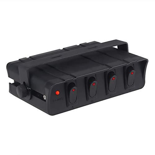 XXYHYQHJD 60amp 12V del Coche camión basculante de conmutación Panel con luz de indicador llevada 4 6 Gang, el Interruptor unipolar Panel de la Caja Barco yate (Color : 4 Gang, Size : Gratis)