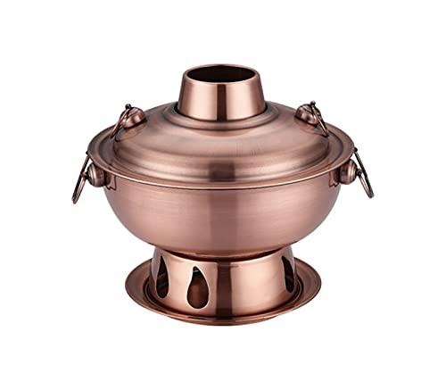 Yinyimei Wok in Acciaio Inox 1,8 Litri di Alta qualità in Acciaio Inox Caldo pentola Calda, Cinese fonduta Agnello Charcoal Charcoal hotpot Cucina all aperto fornello da Picnic (Color : Red Copper)
