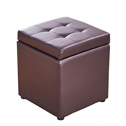 SCJ Cube - Taburete para pies con Almacenamiento de Piel sintética, Asiento de Banco, Caja de Juguetes con bisagra, Caja organizadora Superior, Pecho, marrón, 30x30x35cm (12x12x14 Pulgadas)