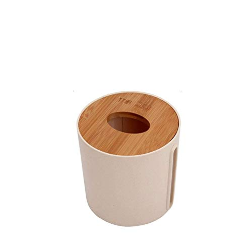 Z-Color Caja de Almacenamiento de Toallas de Papel Redondo, Bandeja de Madera de bamb Estilo nrdico Hogar Sala de Estar Caja de pauelo de Papel de Papel higinico Creativo