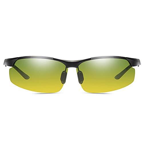 LG Snow Gafas De Sol Polarizadas De Aluminio Y Magnesio for Día Y Noche UV400 con Lentes Plateadas/Grises/Negras, Lentes Verdes Y Verdes, Lentes De Conducción for Hombres (Color : Black)