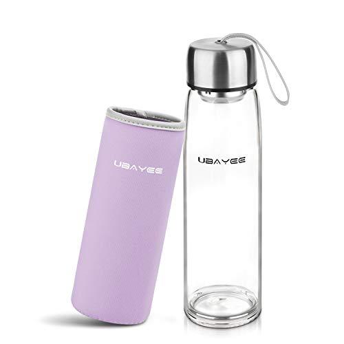 UBAYEE Glasflasche Trinkflasche 550ml BPA Frei Sport Wasserflasche Glas für Unterwegs mit Neopren Tasche, Auslaufsicher Deckel und Siebeinsatz (Lavendel)