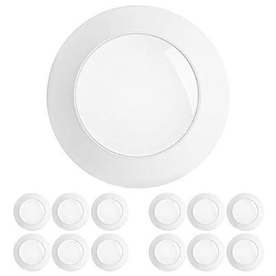 "Freelicht 12 Pack 5/6 Inch Flush Mount LED Disk Light, 15W=120W, 3000K Warm White, 1100LM, Dimmable, Hardwire 4/6"" Junction Box, Recessed Retrofit Ceiling Fixture, Energy Star&ETL"