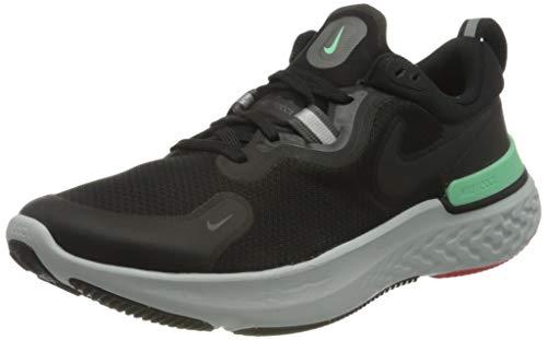 Nike React Miler, Running Shoe Hombre, Black/Black-Iron Grey-Green Glow-Chile Red-Photon Dust, 44 EU