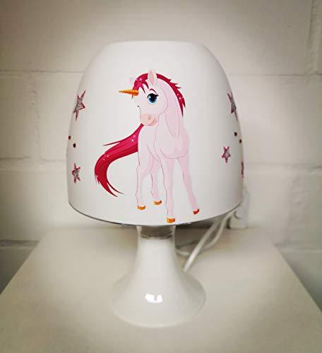 ✿ Tischlampe ✿ EINHORN 2 Unicorn Pferdchen Sterne Glitzer Strass silber personalisiert Name ✿ Tischleuchte ✿ Schlummerlicht ✿ Nachttischlampe ✿ Lampe ✿