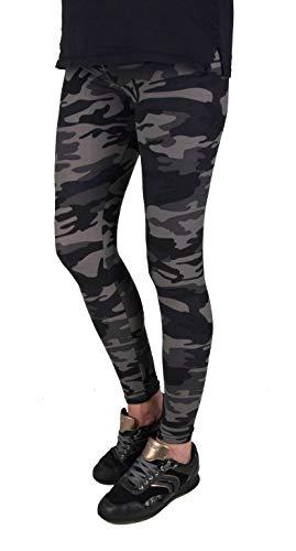 Iwea Damen Camo Leggings Lang Stretch Pants Camouflage Print, Grau, S/M