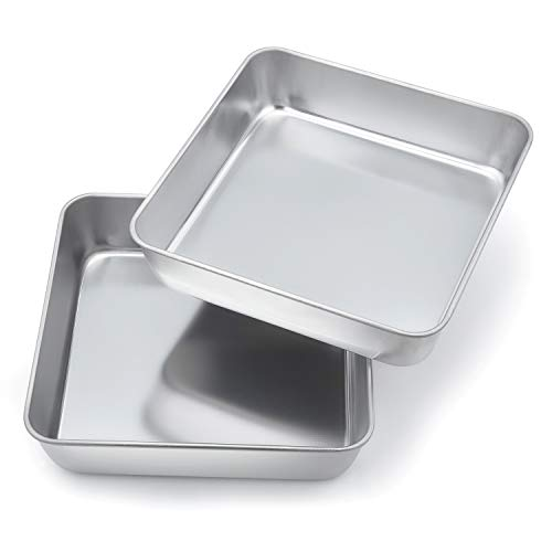 8inch Cake Tin Set of 2, Homikit Stainless Steel Square Cake Tins for...